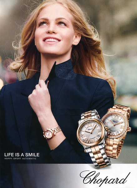 2014 CHOPARD Happy Sport Automatic watches UK (Harper's Bazaar) <br /> featuring Erin Heatherton