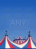 Circus tent under blue sky colorful stripes
