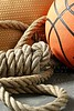 Gym corner, basketball ball and rope