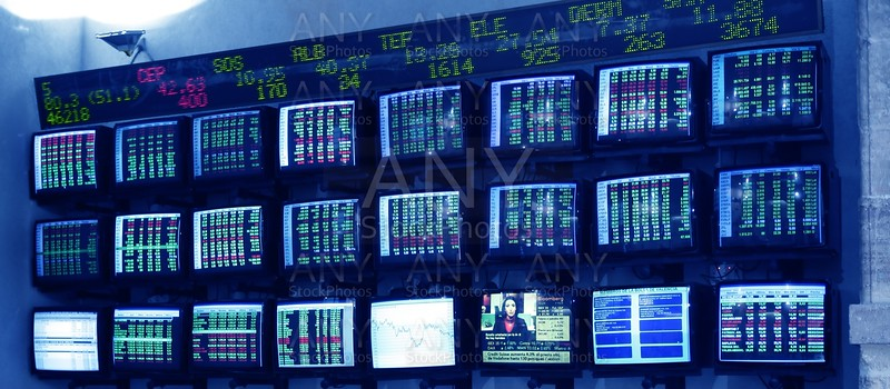stock market multiple screen with reports