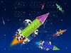 Colorful fantasy rocket flying into blue space