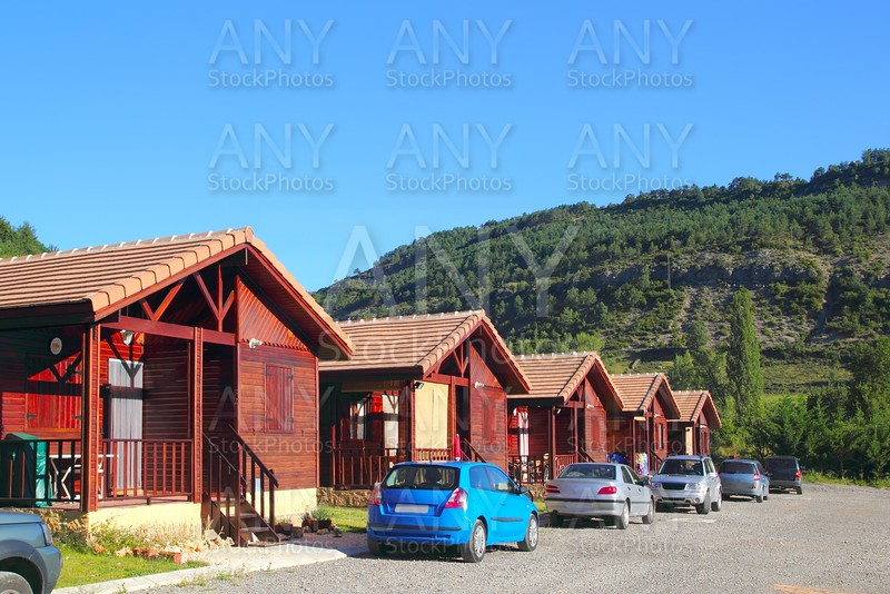 Wood bungalow houses in camping area