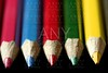Colorful set of pen in vibrant colors over black