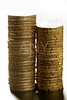 Euro coin columns, golden cash over white background