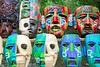 Colorful Mayan masks indian culture in Jungle