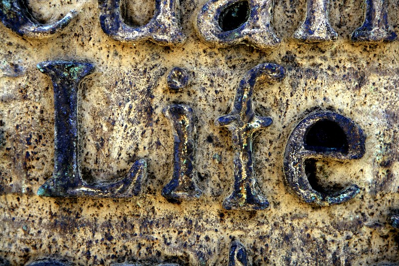 Word life outdoor rusted steel texture