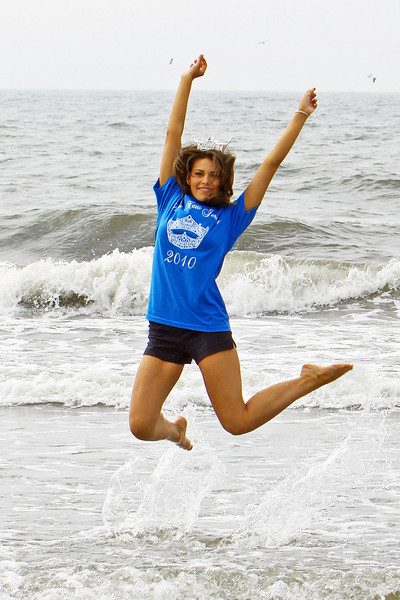 OCEAN CITY, NJ June 20, 2010 Newly crowned Miss New Jersey 2010,  Ashleigh Udalovas shows her delight as she jumps in the ocean.
