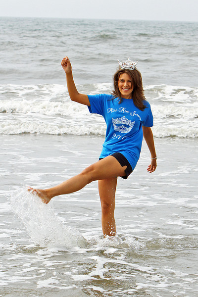 "OCEAN CITY, NJ June 20, 2010 Newly crowned Miss New Jersey 2010,  Ashleigh Udalovas does the day after Miss America ? Miss new Jersey ""Water kick"" in the ocean."