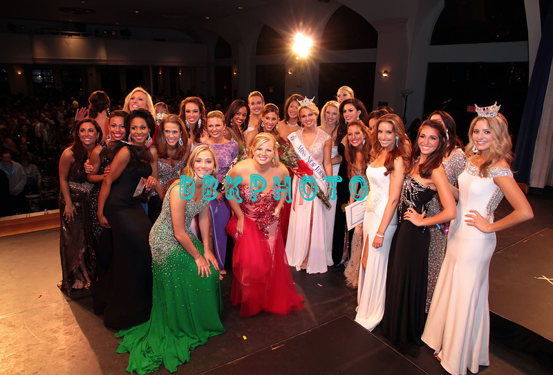 OCEAN CITY, NJ - JUNE 16:  Lindsey Petrosh, Miss Atlantic County, 23  from Egg Harbor City is surrounded by all the Miss New Jersey contestants after being crowned Miss New Jeresy 2012  at the Ocean City Music Pier,  on June 16, 2012 in Ocean City, New Jersey.