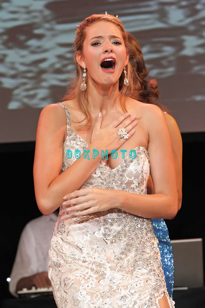 OCEAN CITY, NJ - JUNE 18: Miss Coastal Shore, Katharyn Nicolle, age 20 hears she has been selected Miss New Jersey 2011 as she attends the 2011 Miss New Jersey Pageant at the Ocean City Music Pier on June 18, 2011 in Ocean City, New Jersey.