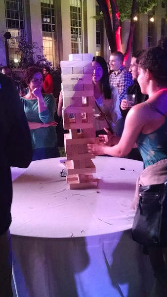 I LOVE that there were multiple tables of giant Jenga