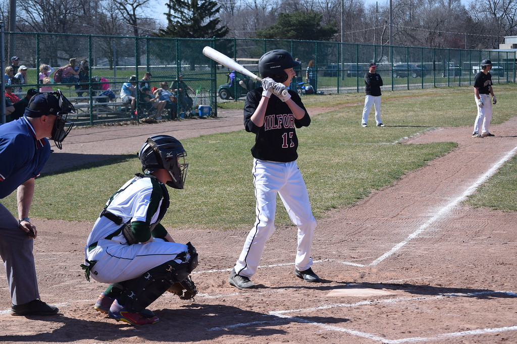 . Waterford Kettering and Milford split a double-header on Monday night at Kettering. (Photo by Paula Pasche)