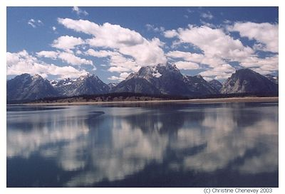 View  of the Grand Tetons with Jenny's Lake.
