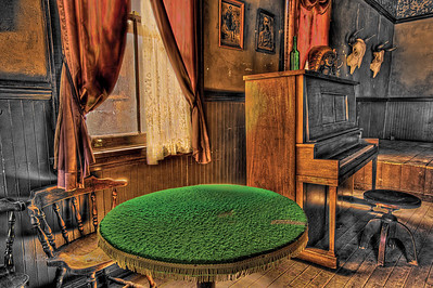 Upright piano and table, dance hall