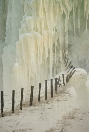 Icicles and fence, winter