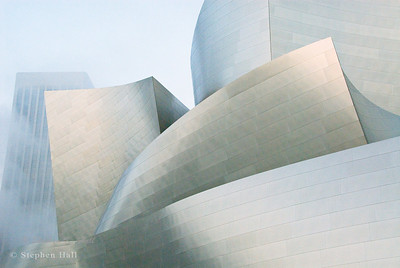 Morning fog, Disney Concert Hall, Los Angeles.