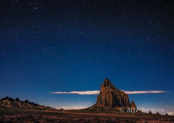 Moonlight on Ship Rock