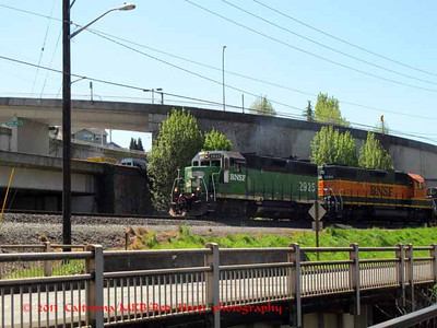 train on tracks by Cedar River