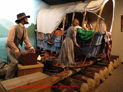 Columbia Gorge Discovery Center, The Dalles, OR Pioneers took wheels off wagons to float on rafts down the river