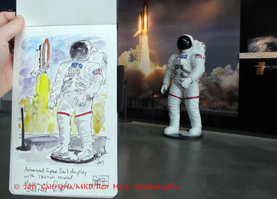 sketch of the astronaut sculpture and mural