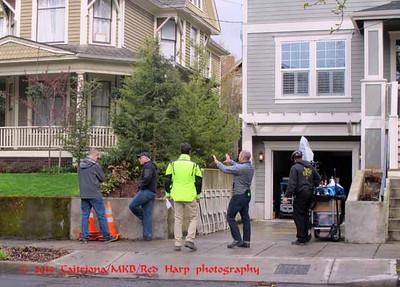 Wed 3/26 Filming day! Staging equipment in the garage next door