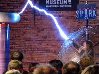 Demonstration at Spark Museum of electricity, where  Microsoft sponsored an after-party