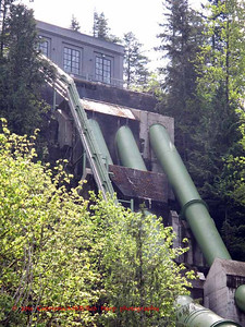 New Plant Two Penstocks carry diverted Snoqualmie River water into the turbines.  They are 600 feet long..