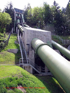 New Plant Two Penstocks carry diverted Snoqualmie River water into the turbines.  They are 600 feet long.