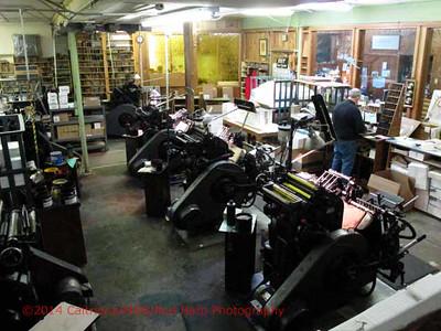 Gwen Frostic studio building:  old Heidelberg printing presses