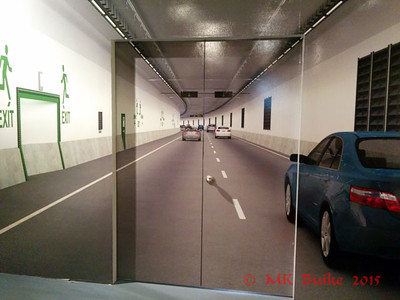 Exhibit about the Big Bertha (stuck) tunneling machine.  back wall of the museum with freakly good perspective, trompe l'oeil tunnel deck!
