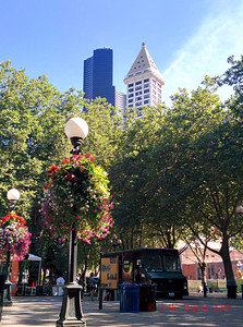 view from Occidental Park;  Columbia Tower on the left and Smith Tower on the right.