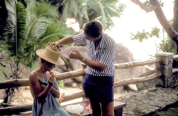 On location, the Seychelles, 1985