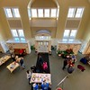 The view of the lobby of First Parish Church in Saco during its MLK Day of Service project.