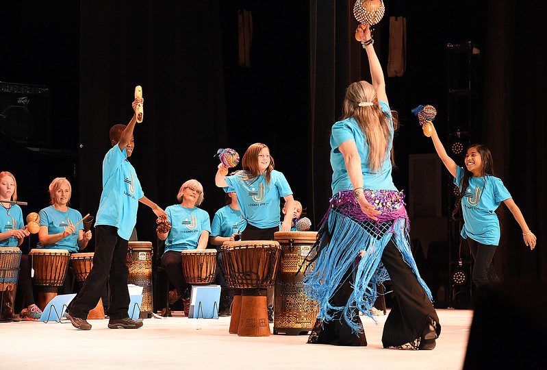"Members of the Djembe Jive MLK Drum Club perform ""African Rythyms"" during the Martin Luther King Jr. Community Celebration Monday, Jan. 16, 2017, at Mountain View High School in Loveland. (Photo by Jenny Sparks/Loveland Reporter-Herald)"