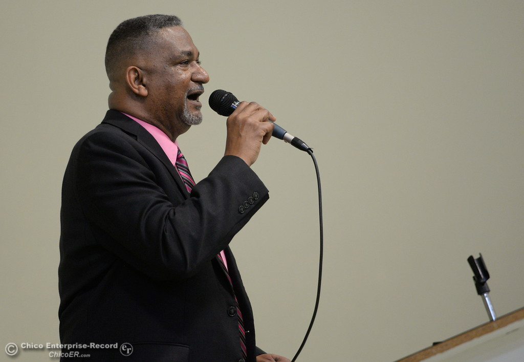 . Pastor David Goodson introduces keynote speaker Dr. Samia Yaqub during the Martin Luther King Jr. day celebration at the Southside Community Center in Oroville, Calif. Mon. Jan. 15, 2018. (Bill Husa -- Enterprise-Record)