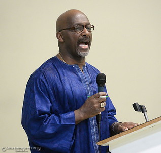 Pastor Joseph Crook gives the invocation during the Martin Luther King Jr. day celebration at the Southside Community Center in Oroville, Calif. Mon. Jan. 15, 2018. (Bill Husa -- Enterprise-Record)