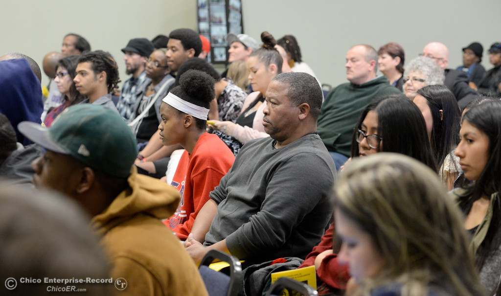 . Members of the community listen during the Martin Luther King Jr. day celebration at the Southside Community Center in Oroville, Calif. Mon. Jan. 15, 2018. (Bill Husa -- Enterprise-Record)