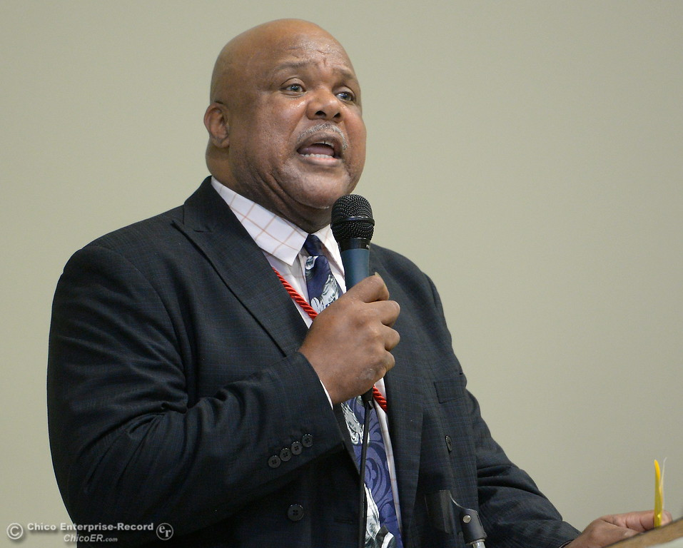 ". Pastor Kevin Thompson recognizes elected officials and reminds everyone ""The most powerfull tool we have is the power to vote\"" during the Martin Luther King Jr. day celebration at the Southside Community Center in Oroville, Calif. Mon. Jan. 15, 2018. (Bill Husa -- Enterprise-Record)"