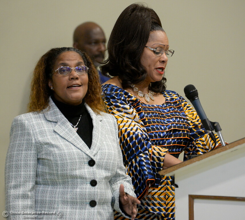 . Cara Lamumba and Janet Goodson left to right sing the anthem during the Martin Luther King Jr. day celebration at the Southside Community Center in Oroville, Calif. Mon. Jan. 15, 2018. (Bill Husa -- Enterprise-Record)