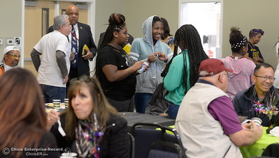 People enjoy breakfast and visiting with community members during the Martin Luther King Jr. day celebration at the Southside Community Center in Oroville, Calif. Mon. Jan. 15, 2018. (Bill Husa -- Enterprise-Record)