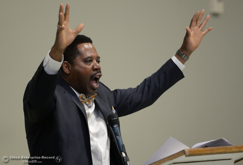 ". Ajamu Lamumba delivers Dr. Martin Luther King Jr\'s ""I have a dream\"" speech during the Martin Luther King Jr. day celebration at the Southside Community Center in Oroville, Calif. Mon. Jan. 15, 2018. (Bill Husa -- Enterprise-Record)"