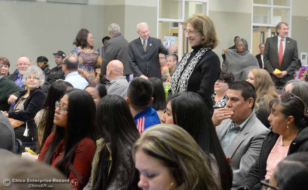 . Elected officials in attendance are asked to stand and be recognized during the Martin Luther King Jr. day celebration at the Southside Community Center in Oroville, Calif. Mon. Jan. 15, 2018. (Bill Husa -- Enterprise-Record)