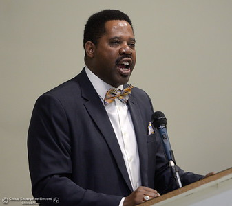 "Ajamu Lamumba delivers Dr. Martin Luther King Jr's ""I have a dream"" speech during the Martin Luther King Jr. day celebration at the Southside Community Center in Oroville, Calif. Mon. Jan. 15, 2018. (Bill Husa -- Enterprise-Record)"