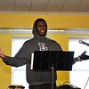 "Eric ""Rico"" Abakak,  from the Leominster High School Hip Hop Culture Club Class, performed during the MLK Jr. celebration at Leominster's First Church on Monday. SENTINEL & ENTERPRISE/JIM FAY"