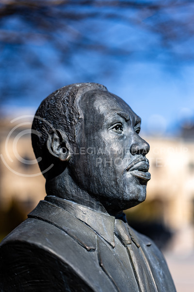 Martin Luther King, Jr statue located outside of Ahearn Field House, Kansas State University. Tuesday 2, 2021. (Dylan Connell | Collegian Media Group)