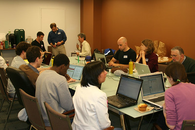 MLK Day, January 18, 2010: Volunteers are busy at computers as they assist in getting aid to Haiti following the January 12 earthquake.