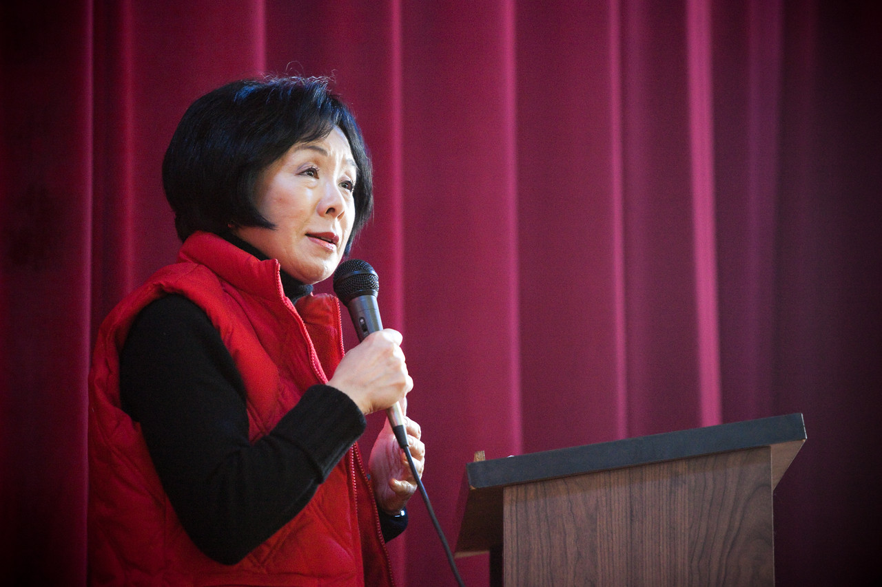 MLK Day, January 18, 2010: Rep. Doris Matsui (D-CA) addresses volunteers during the opening ceremony at Bruce Monroe at Parkview Elementary School.
