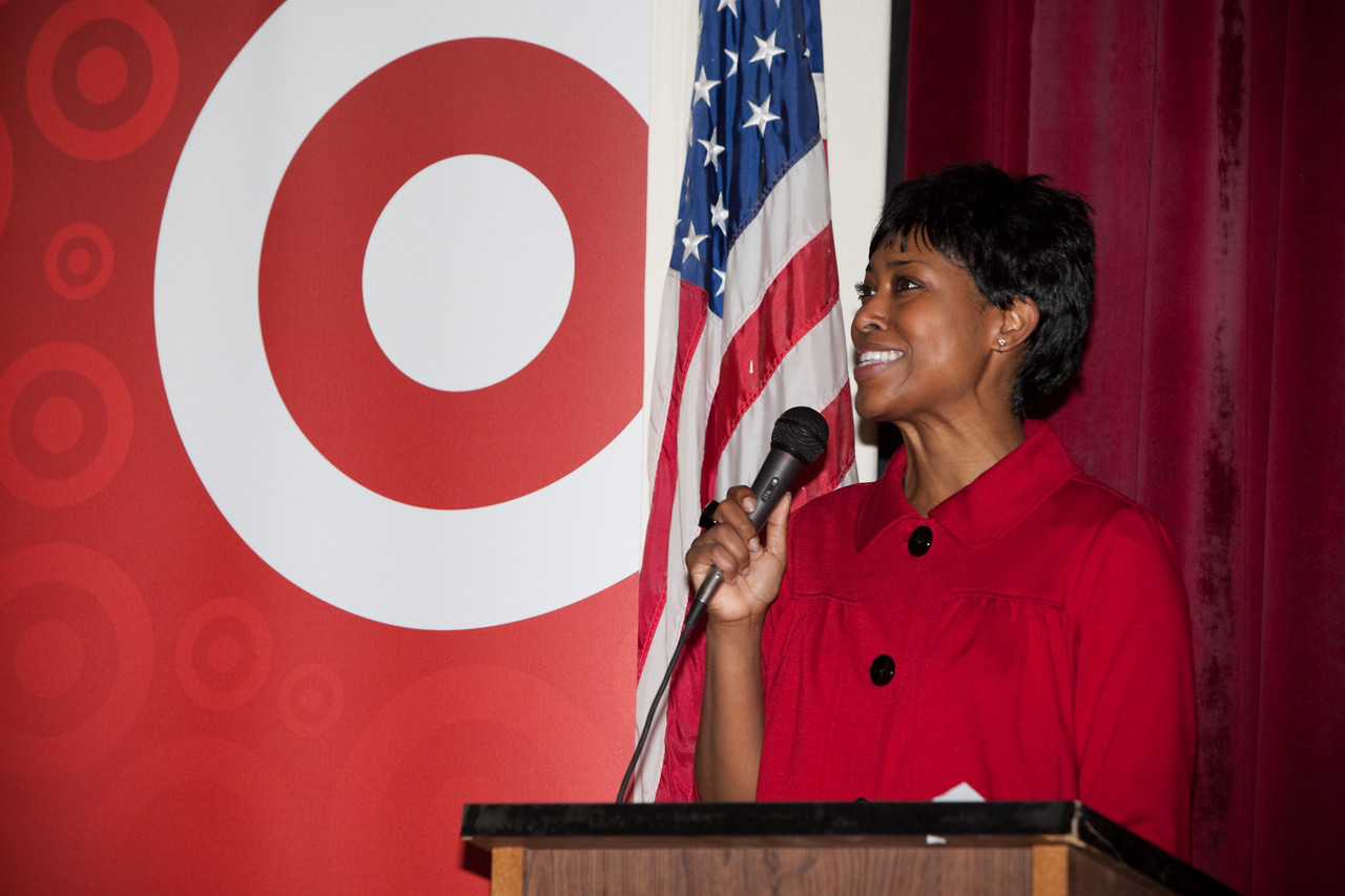 MLK Day, January 18, 2010: Laysha Ward, President of Community Relations at Target Corporation and President of the Target Foundation addresses volunteers during the opening ceremony at Bruce Monroe at Parkview Elementary School.