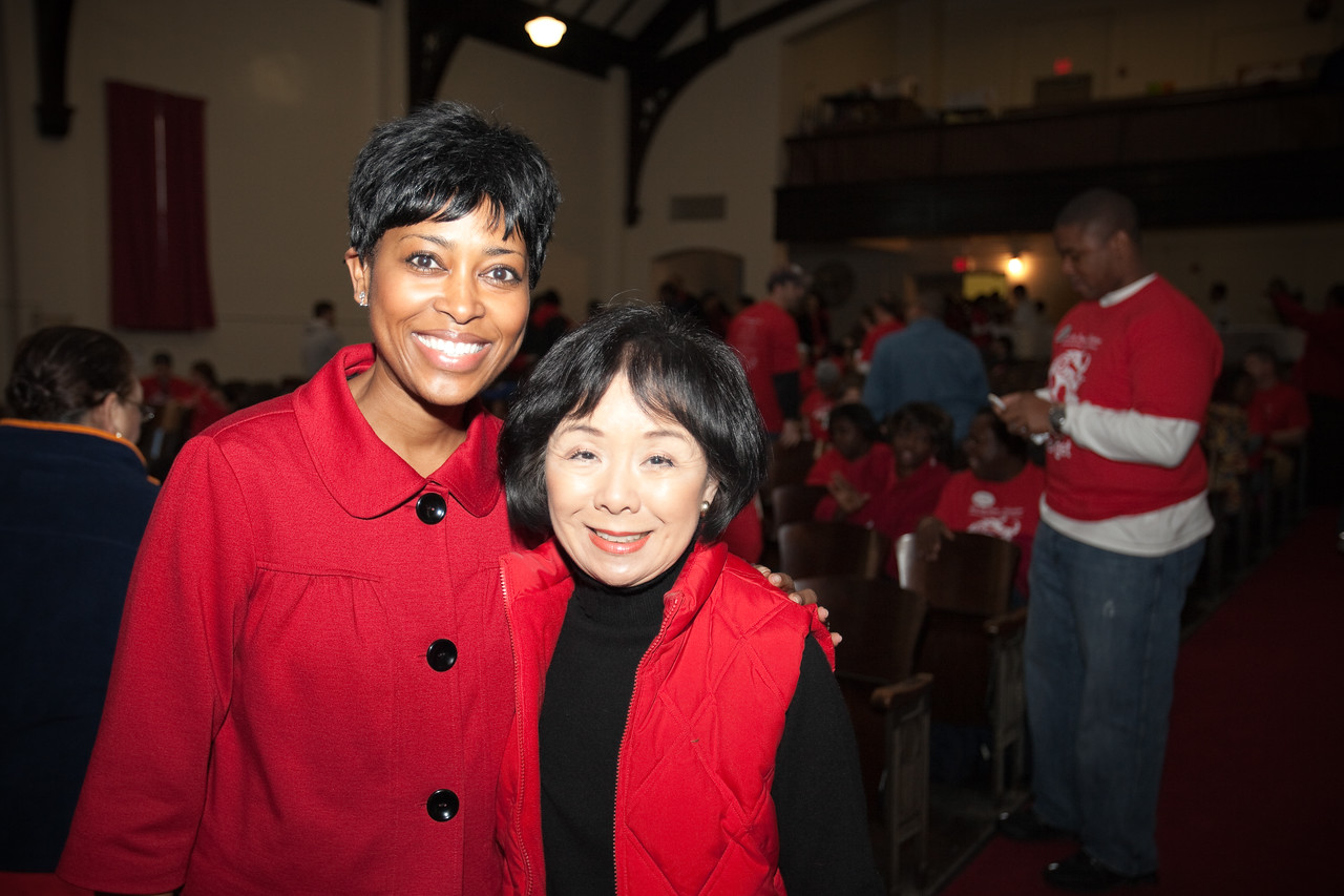 MLK Day, January 18, 2010: Laysha Ward, left, President of Community Relations at Target Corporation and President of Target Foundation, and Rep. Doris Matsui (D-CA) were among the hundreds who volunteered at Bruce Monroe at Parkview Elementary School.