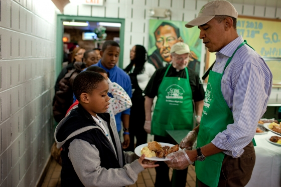 In honor of Martin Luther King Jr. Day, President Barack Obama serves lunch in the dining room at So Others Might Eat, a soup kitchen in Washington on Jan. 18, 2010. (Official White House Photo by Pete Souza)